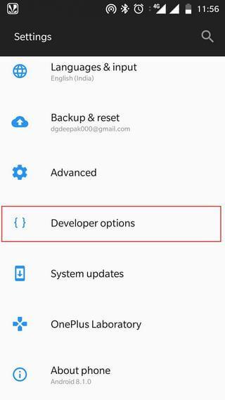 Enable Developer Options/USB Debugging on OnePlus 6