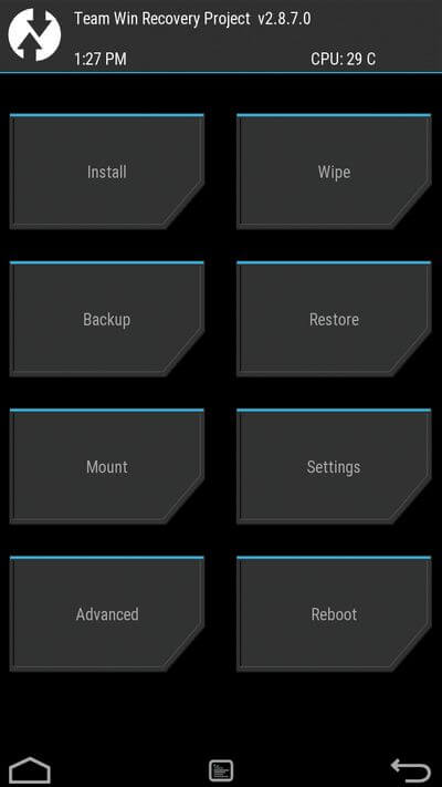 TWRP Recovery Mode Samsung Galaxy S7