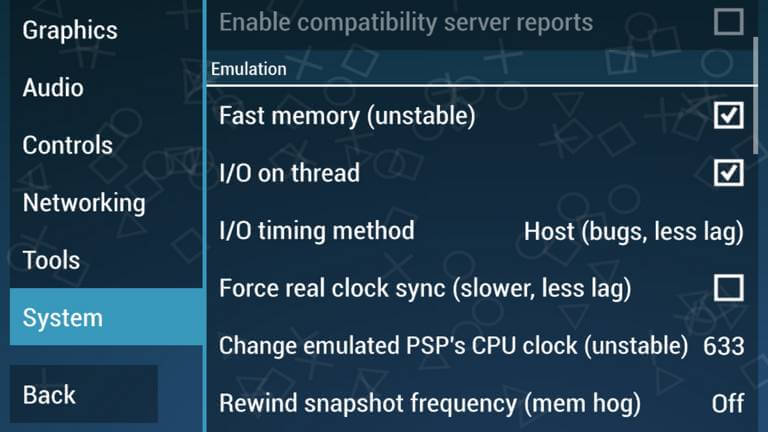 Emulation Settings