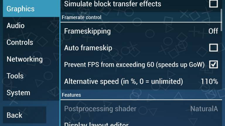Frame rate control settings