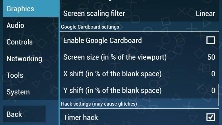 PPSSPP Google Cardboard Settings