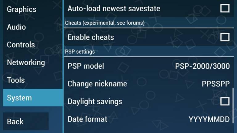 PPSSPP model settings