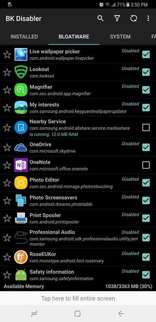 Disable Apps on Samsung Galaxy Note 9