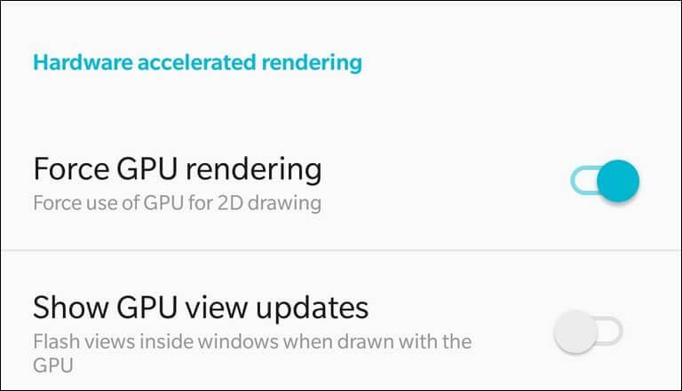 Enable Force GPU rendering Galaxy Note 8