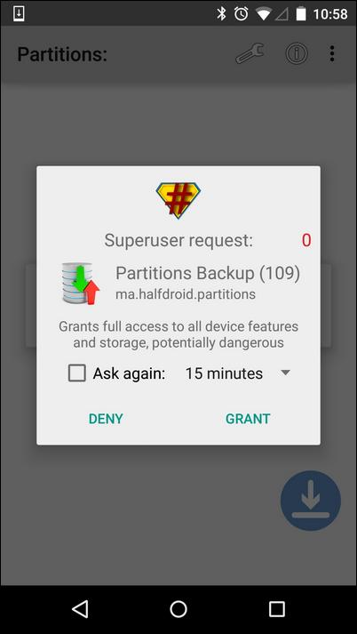Grant Root access to Partitions Backup and Restore app