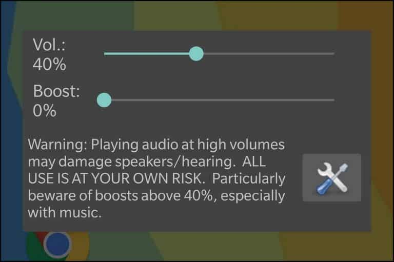 Speaker Boost App Screen Options on Galaxy S7