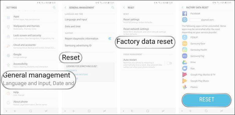 Factory data reset the Samsung Galaxy Note 8