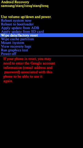 Perform Wipe data factory reset on Samsung Galaxy S5