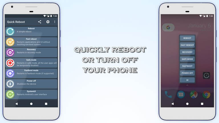 Use Quick reboot application to enter recovery mode