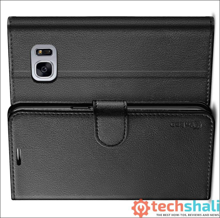 Black PU Leather Wallet cover for Samsung Galaxy S7