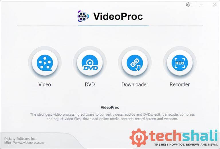 videoproc user interface