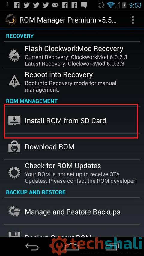 ROM Manager App Install ROM From SD Card