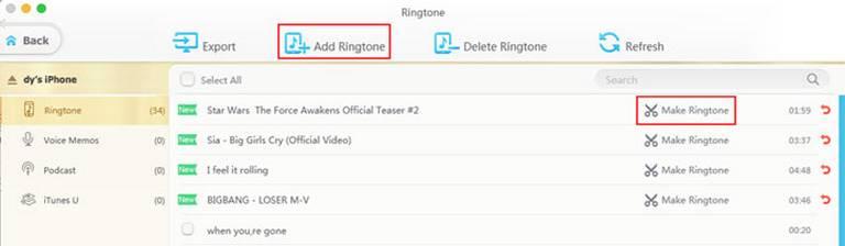 Create ringtones from iTunes music files
