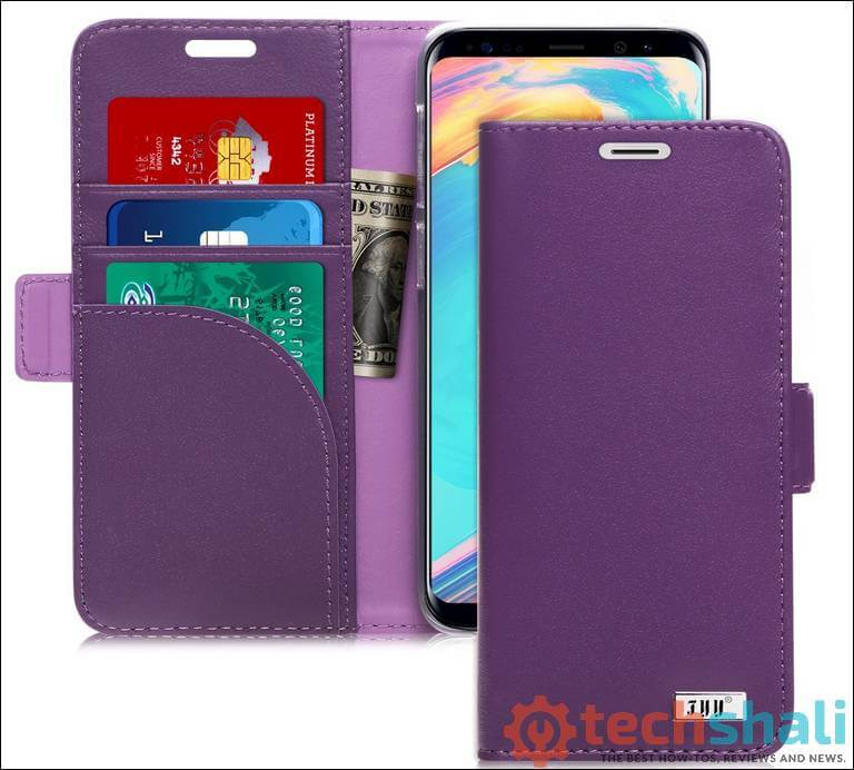 FYY [Genuine Leather] Wallet Case for Samsung Galaxy S9