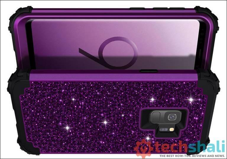 Lontect Compatible Galaxy S9 Case Luxury Glitter Sparkle Bling Heavy Duty Hybrid Sturdy Armor