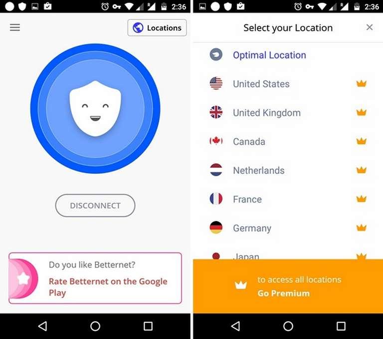 Betternet VPN app