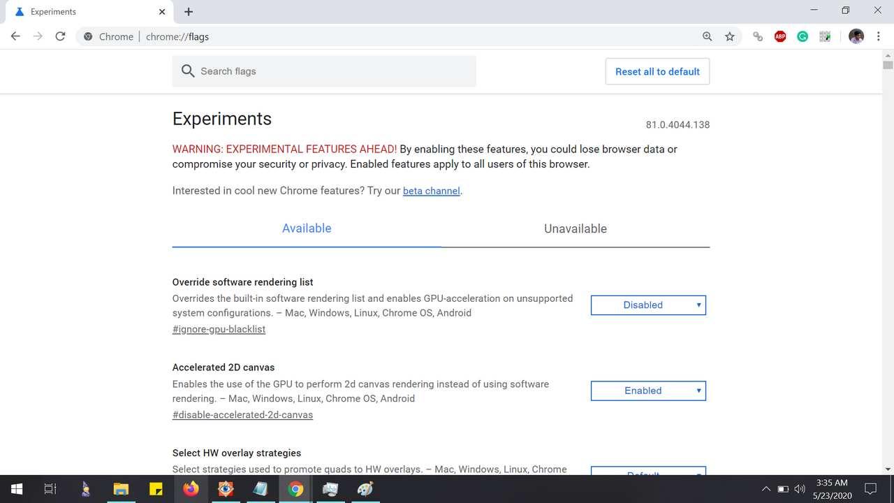 Customize Experimental Chrome Settings