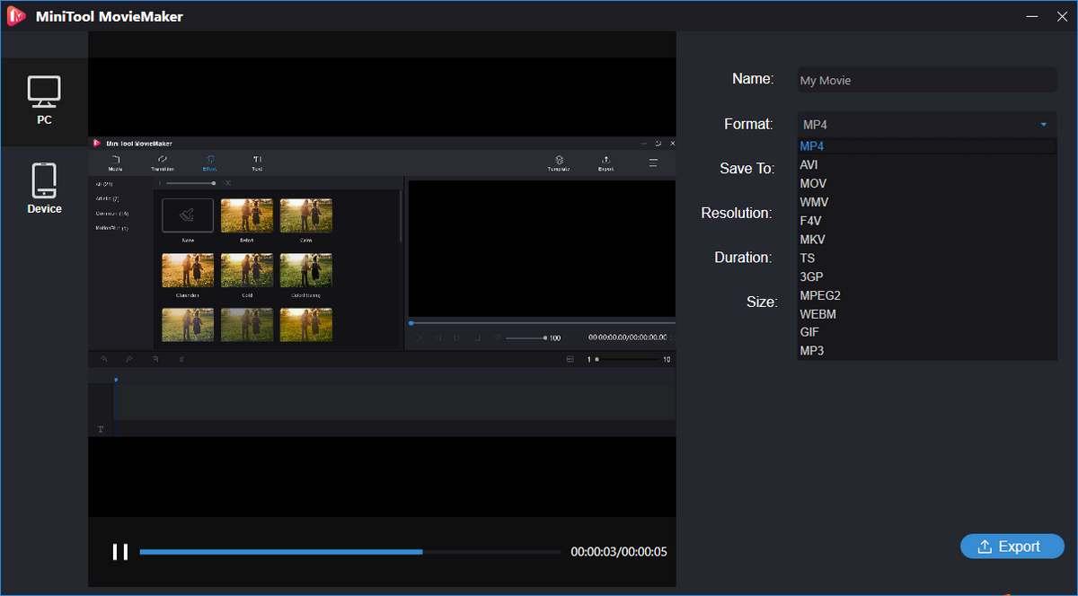 Edit videos with MiniTool MovieMaker
