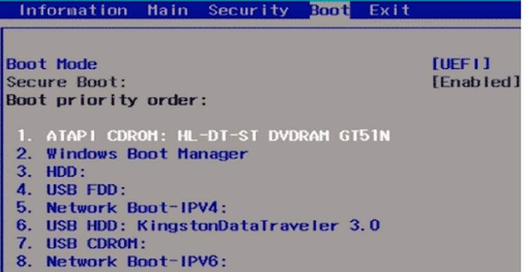 Change the BIOS Order of Booting