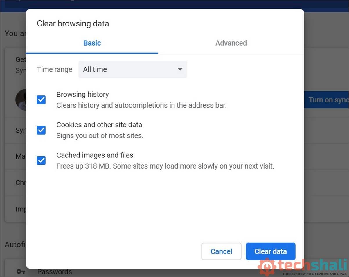 Clear Google Chrome Cache