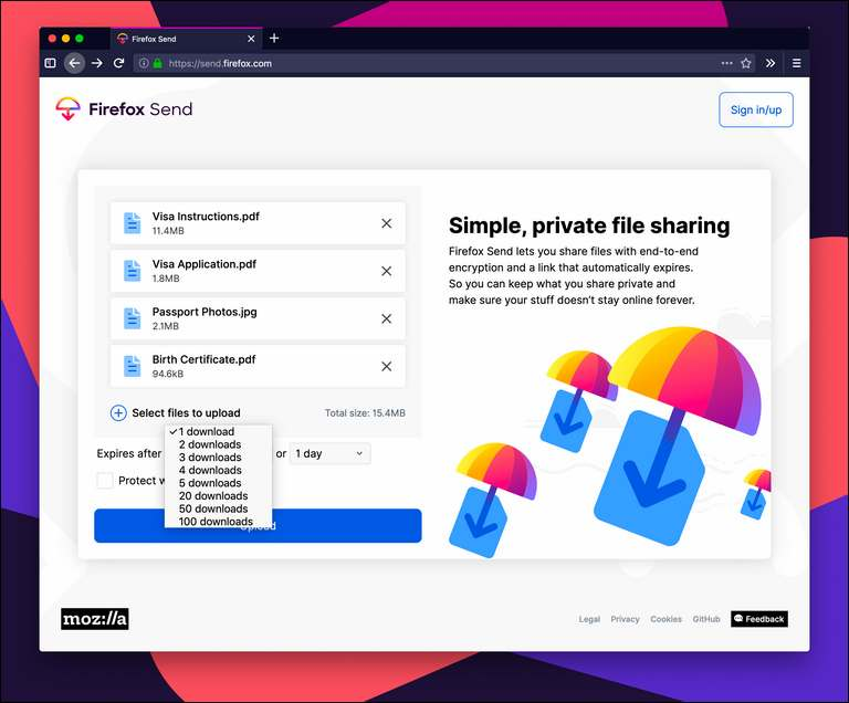 FIREFOX SEND, A FREE FILE TRANSFER SERVICE BY EMAIL DISCONTINUED IN SEPTEMBER 2020