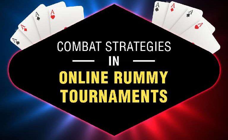 Combat Strategies in Online Rummy Tournaments