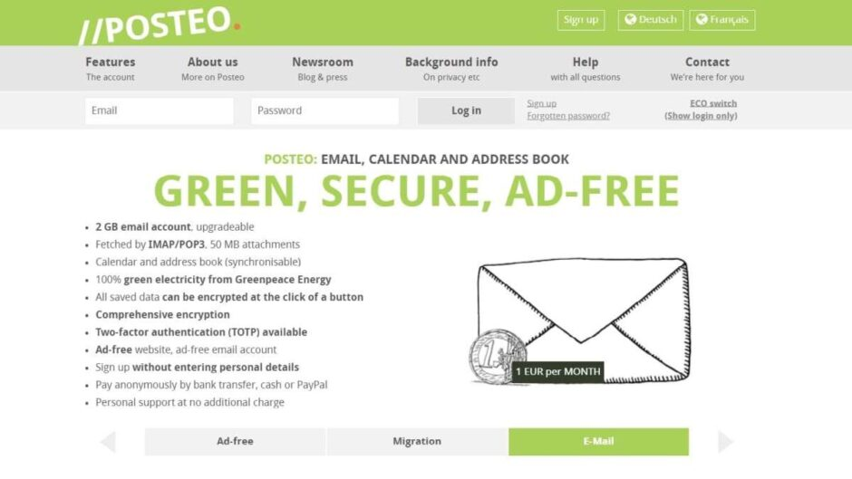 POSTEO - best Gmail Alternatives to Protect Your Privacy
