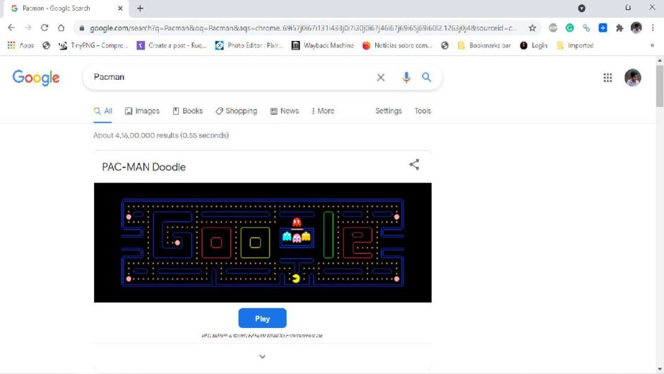 Google Pacman: the doodle to play Pac-Man for free